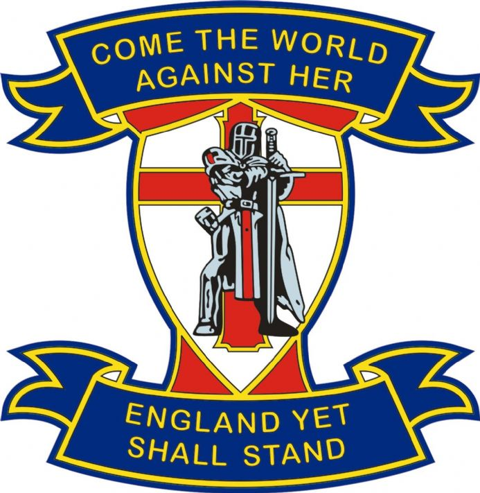 "England Car Widow  Sticker ""Come The World Against Her, England Yet Shall Stand"""